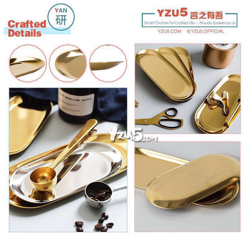 Food Grade Stainless Steel Gold Jewelry Tray Dessert Plate Minimalist Nordic Scandinavian