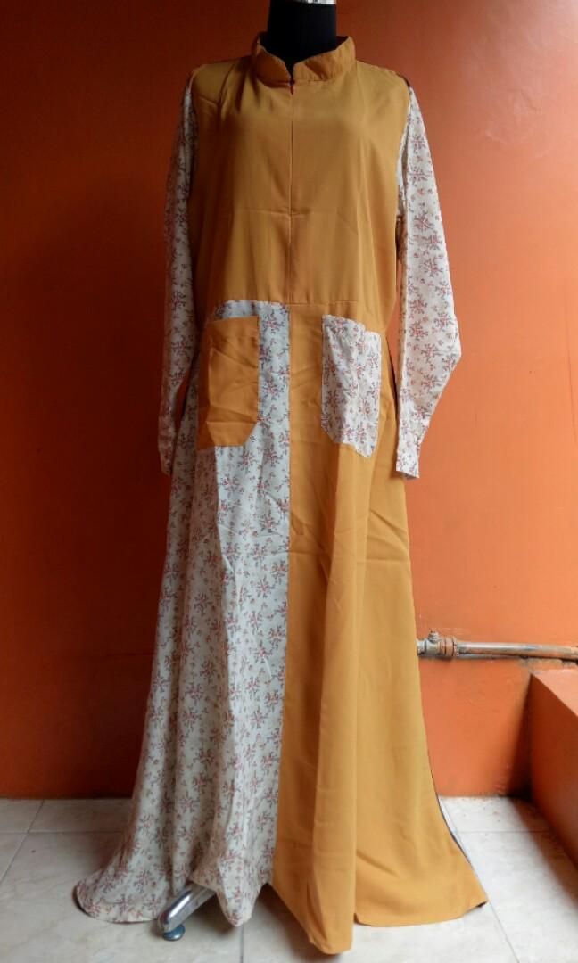 Gamis Kombinasi Navy Kuning Kunyit Dan Motif Bunga Olshop Fashion