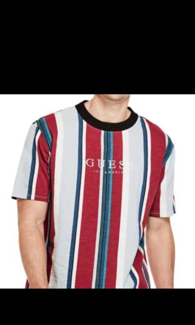 aea3e4f0 Guess los angeles david sayer red vertical striped tee, Men's ...
