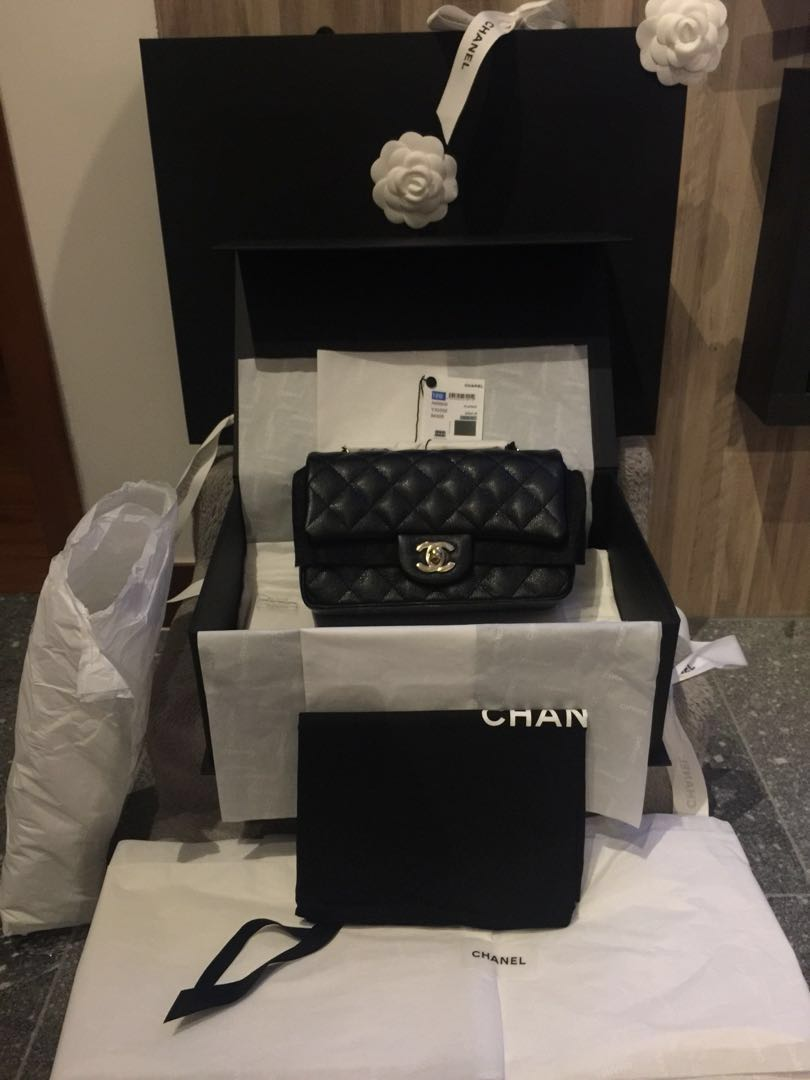 e048d99d1754 Limited Chanel Mini Rectangle Black Cavier w LGHW