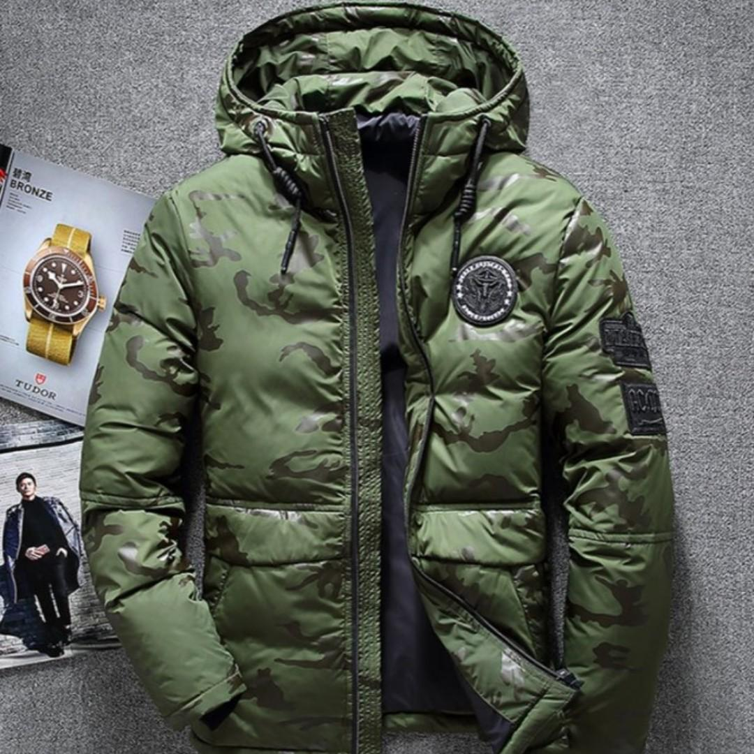 Men - Camo Down Feathers Hooded Winter Jacket M208