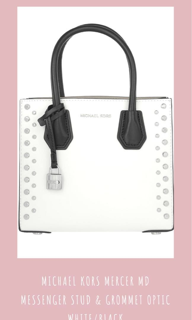 8079c7002b620f Michael Kors Mercer MD Messenger Stud & Grommet Black & White, Women's  Fashion, Women's Bags & Wallets on Carousell