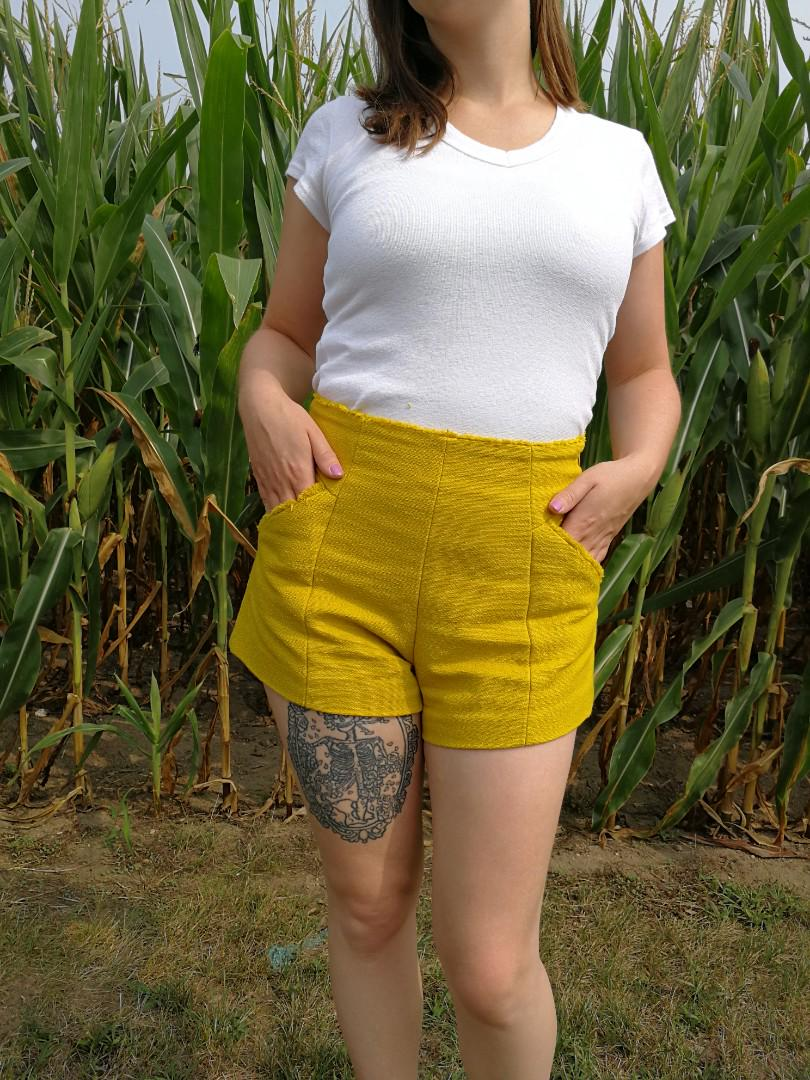 Zara Mustard Yellow Tweed Shorts High Waist Zara Fringe Small