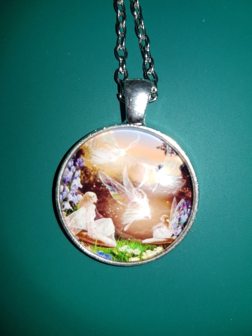 Fairy Ballet Photo Tibet Silver Cabochon Glass Pendant Chain Necklace Jewelry