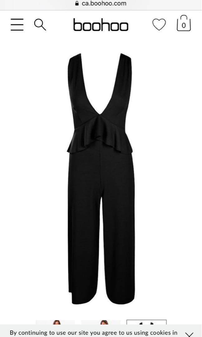 Petite Plunge Frill jumpsuit boohoo brand new size 4 with tags