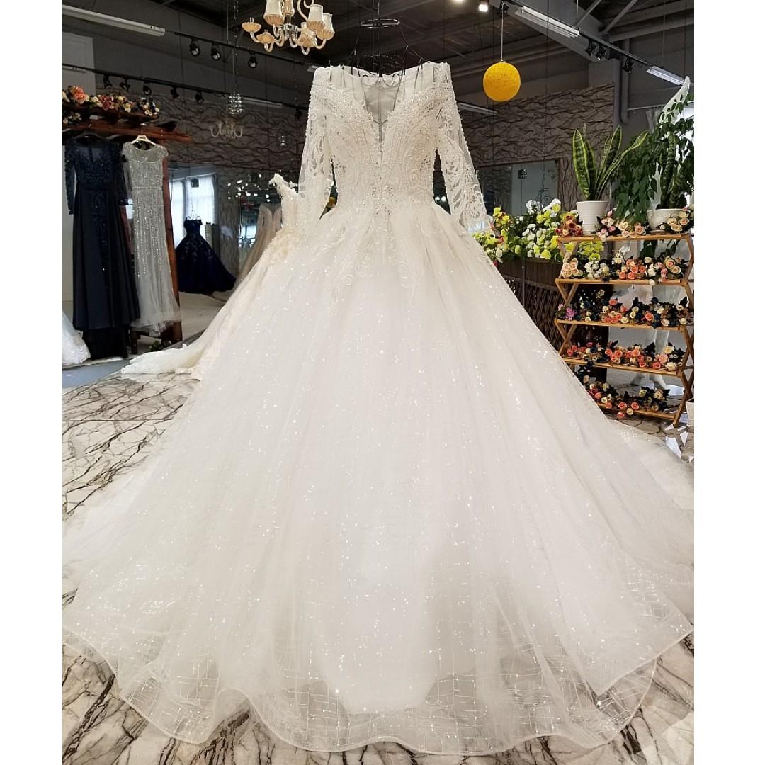 pre order white sequin long sleeve fishtail diamond wedding bridal prom  dress gown rb0728