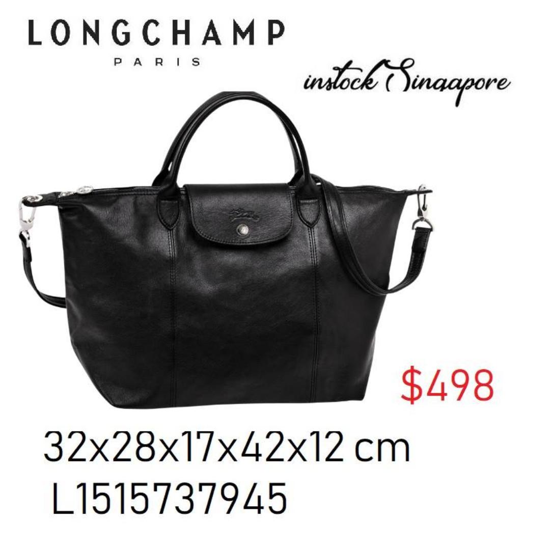 feb98031c4b9 READY STOCK authentic new Longchamp LE PLIAGE cuir full leather medium  black L1515737001