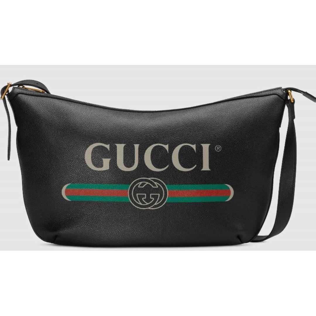 64f59ea8715a SALE! Gucci Print Half-moon Hobo Bag in Black Leather!