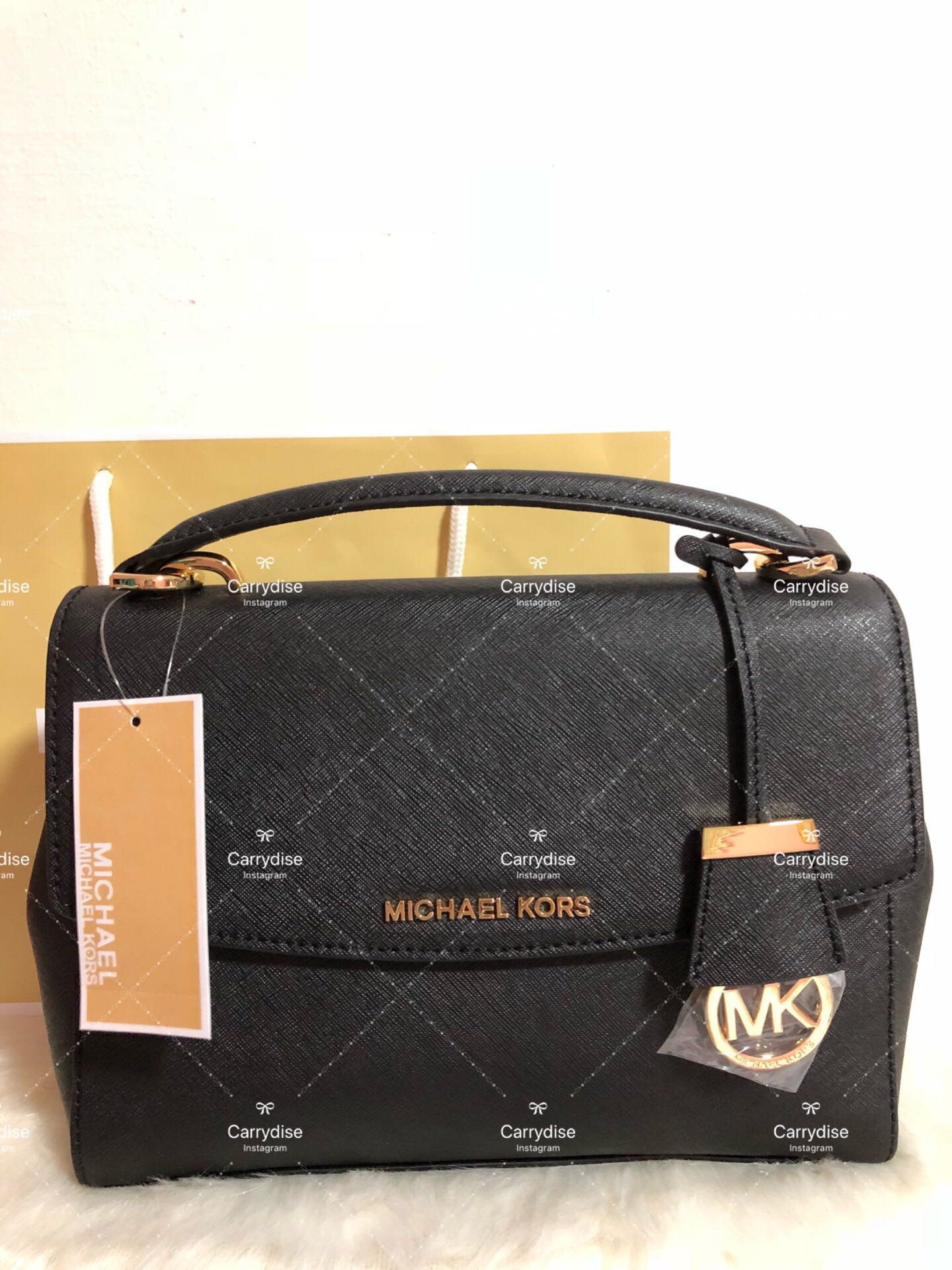 59ac1d8c5960 Authentic MK Michael Kors Ava Small Saffiano Leather Satchel Shoulder  Crossbody Sling Bag