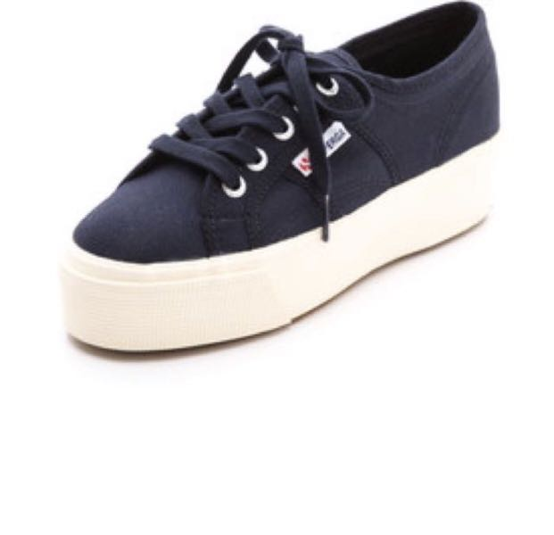 Superga Flatform Navy Blue Shoes Size