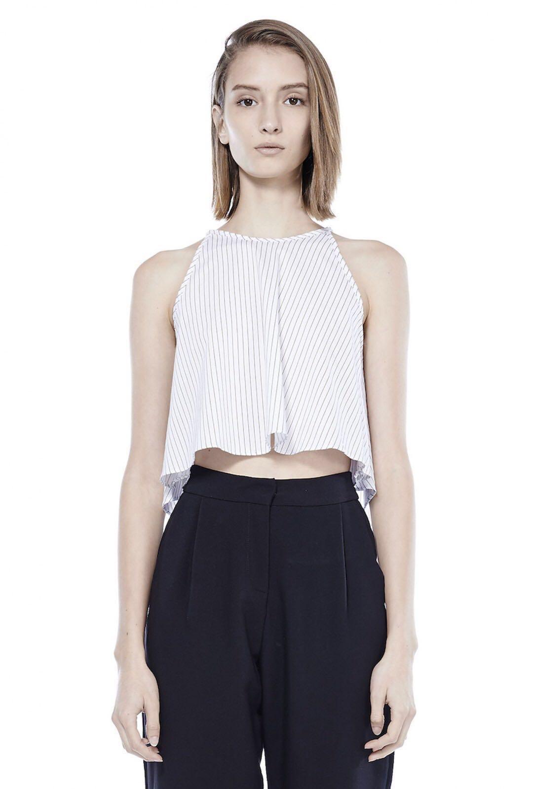 the editor's market/tem jocasta striped top in white