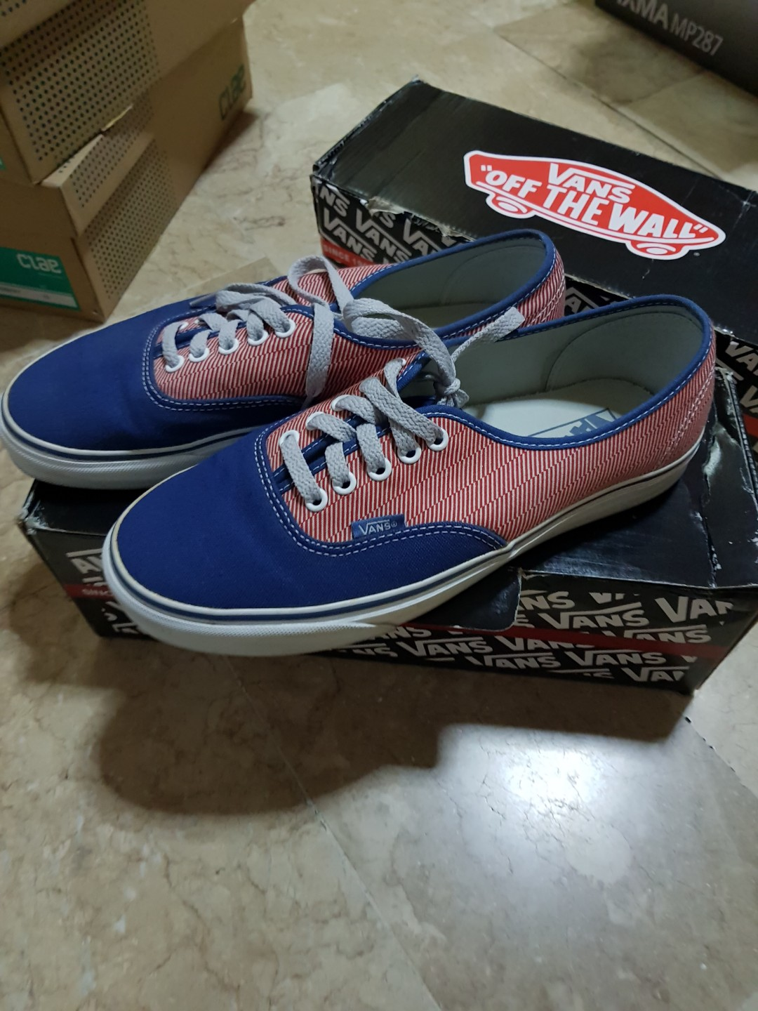 7ce88d6594 Vans Authentic Angle Stripe Navy Causal Rare Sneaker