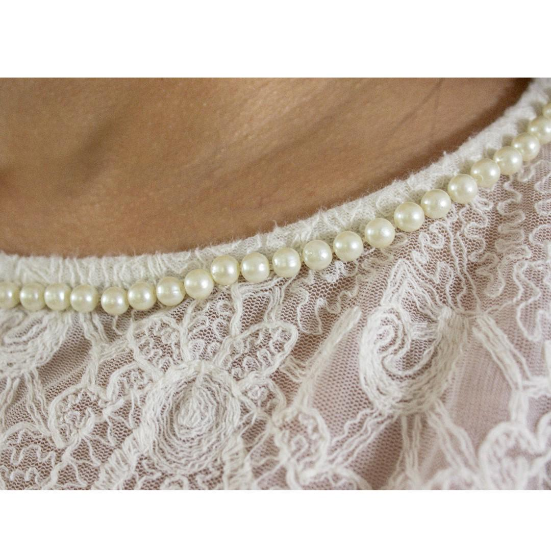 Zara - Pearled Necklining Embroidered Top