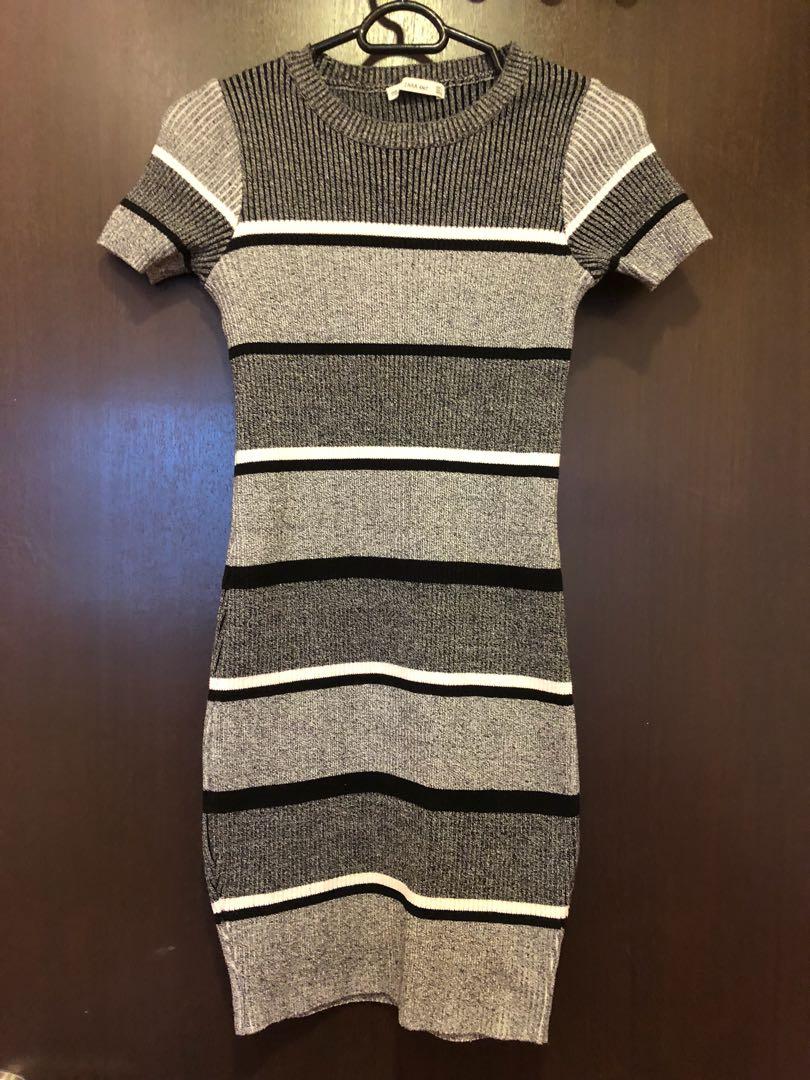 50af046fb3ec ZARA Knit Bodycon Black White Grey Striped Tshirt Dress