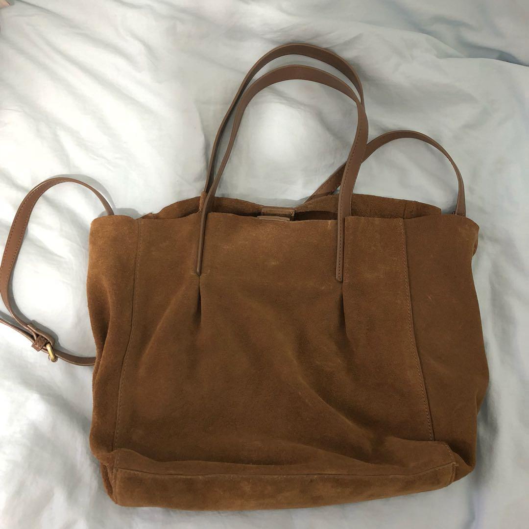 bea448fccf2 Zara Suede Leather Shopper Bag, Women's Fashion, Bags & Wallets ...