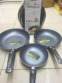 Non-stick Marble stone frying pan 3-piece (麦石炒鍋三件套)