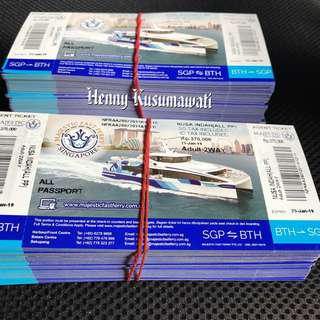 Batam MAJESTIC FAST FERRY TICKETS $38 Two way inclusive of Tax. OPEN TICKETS, All Passport