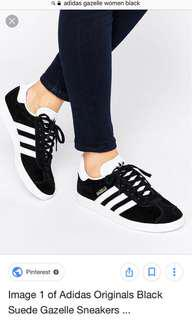 Adidas Gazelle Black and White Size 8