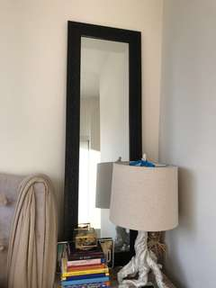 Black reflective framed mirrors (2 available)