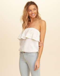Hollister Embroidered Ruffle Tube Top XS