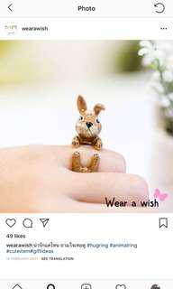 BNIB 18k gold plated hand made animal ring - rabbit