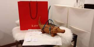 Authentic Kate spade swamped 3D wicker alligator clutch