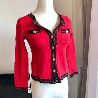 Red Cropped Knitted Cardigan