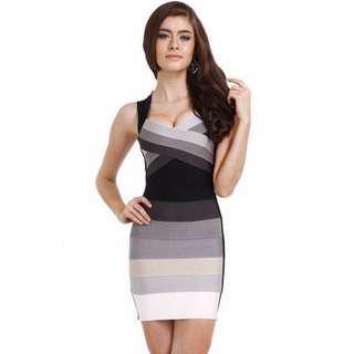 Herve Leger Inspired Black Grey Ombré Bandeau Sexy Fitting Dress