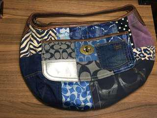 Coach Blue Denim Patchwork Hobo Handbag
