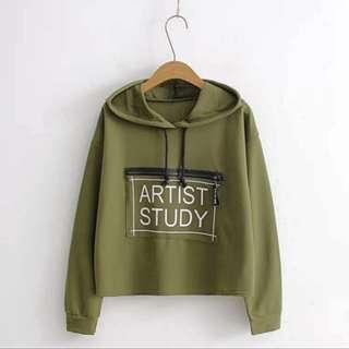 Army Green Artist Study Hoodie Jacket ❣️