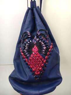 心心織紋真皮袋 Boxing Bag 側背索繩袋