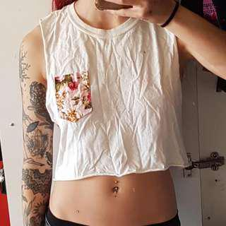 Womens White Crop Top Size 6