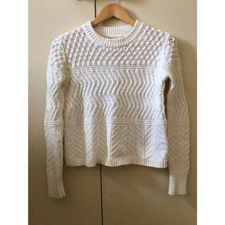 White Textured Cosy Knit Sweater Jumper XS/S