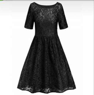 Lace Round Neck A Line Dress (S-2XL size)