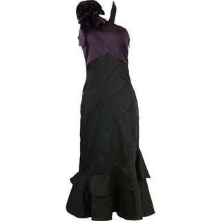 Karen Millen Black And Purple One Shoulder Midi Dress