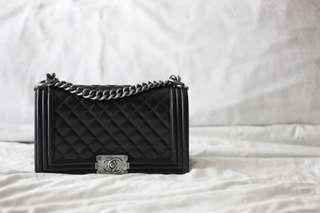 AUTHENTIC CHANEL BOY Medium Caviar Ruthenium HW, with authenticity card, original dustbag and box