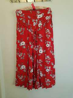 Red Floral Wide Pants