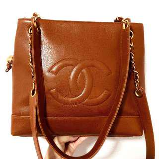 Authentic Chanel Caviar Kenyan Brown Tote with 24k Gold Hardware