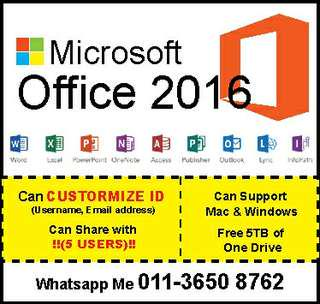 Microsoft office 2016 for lifetime and Mac/Win