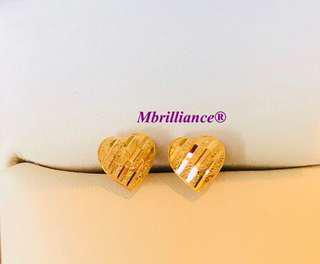 Stripe cut hearts earstuds  916 Gold by Mbrilliance
