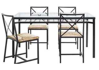 Granada table,  lack, glass top