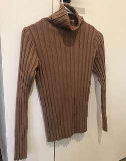 Verge girl tan ribbed turtle neck