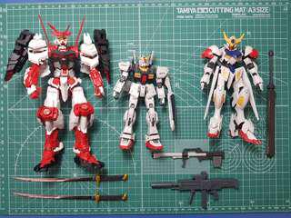 3x Gundam with boxes and accessories