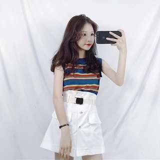 🚚 休閒夏季韓版時尚新款針織條紋無袖背心