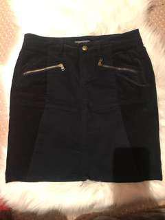 TOMMY HILFIGER navy gold zip corduroy mini skirt