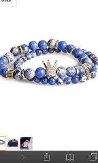 Men's king 2 piece beaded bracelets