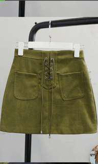 Khaki army green lace up mini skirt