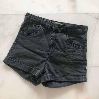 High Waist Black denim shorts
