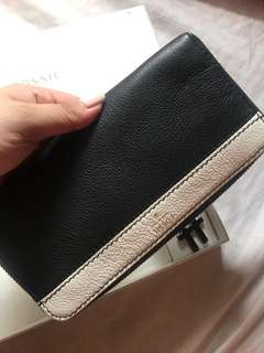 Fossil Brenna Black and White Clutch Wallet