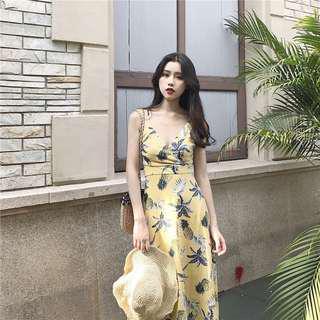 Pineapple Print Criss Cross Maxi Dress